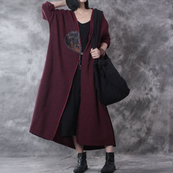 Retro Spring Linen Applique Dark Red Long Coat