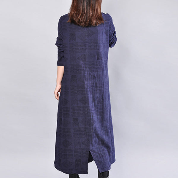 V Neck Long Sleeves Loose Splitting Women Blue Dress - Buykud