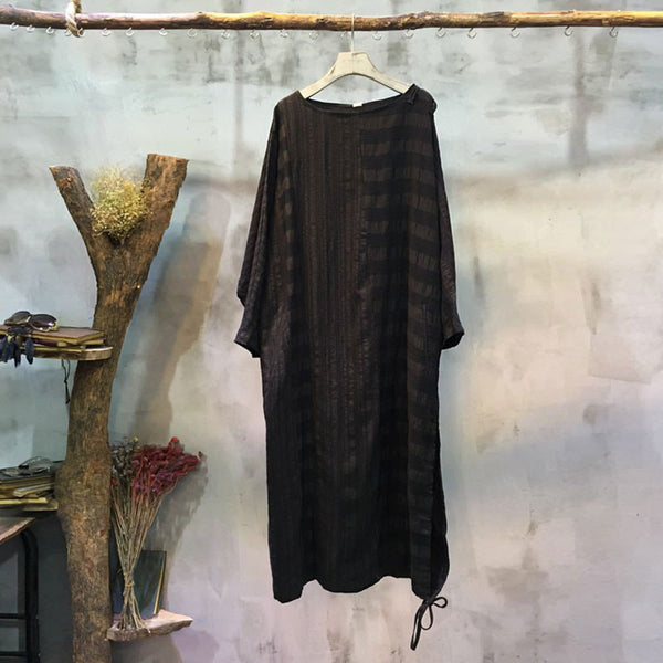 Linen Jacquard Women Loose Black Dress