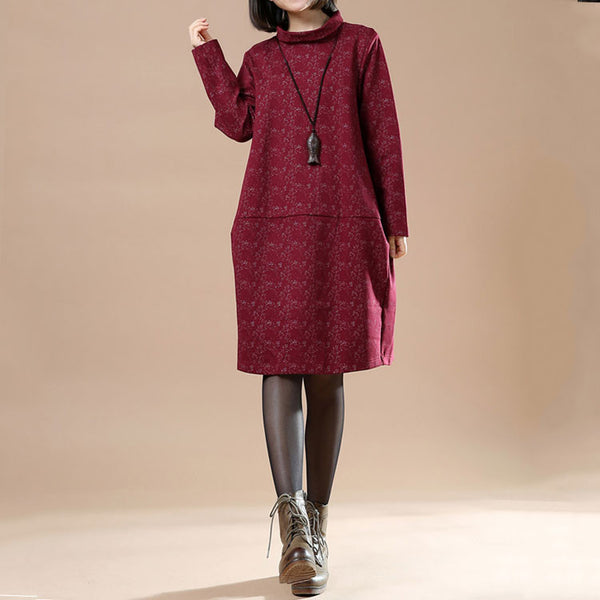 Autumn Large Size Women Casual Long Sleeve Dress
