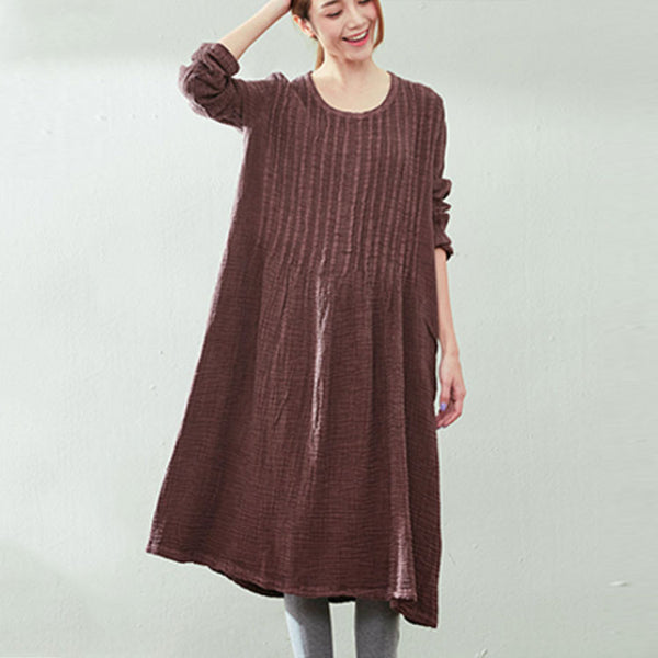 Retro Loose Long Sleeve Cotton Linen Dress