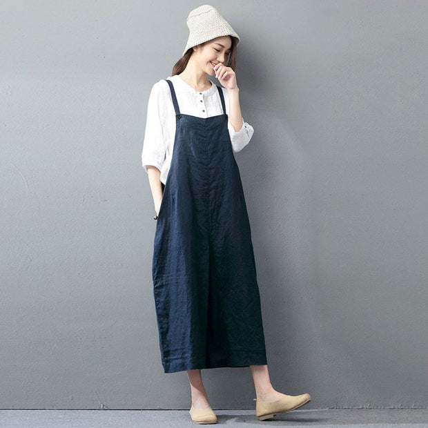 Casual loose jumpsuit linen overall - Buykud