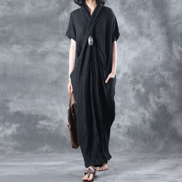 Women Summer Literature Linen Short Sleeves Black Dress