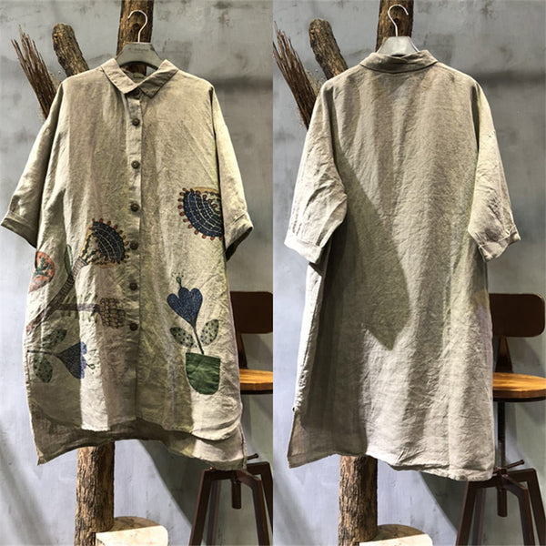 Women Cotton Linen Loose Print Shirt - Buykud