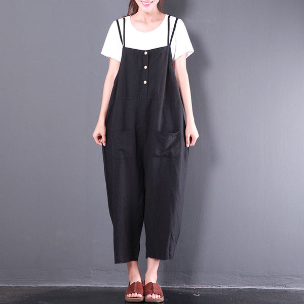 Summer Casual Loose Women Cotton Linen Black Jumpsuit - Buykud