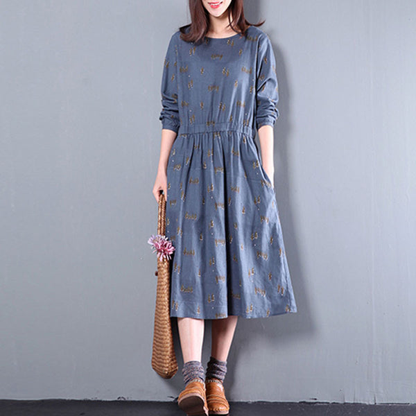 Spring Linen And Cotton Printing Dress