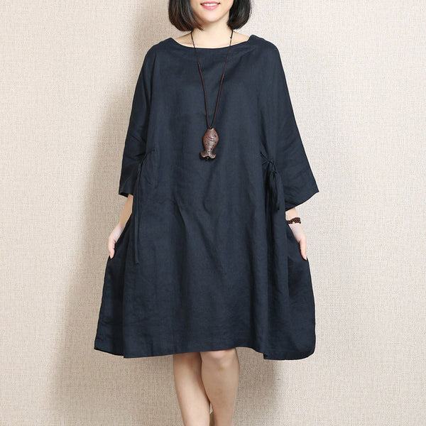 Spring Linen Bat Sleeves Large Hem Navy Blue Dress