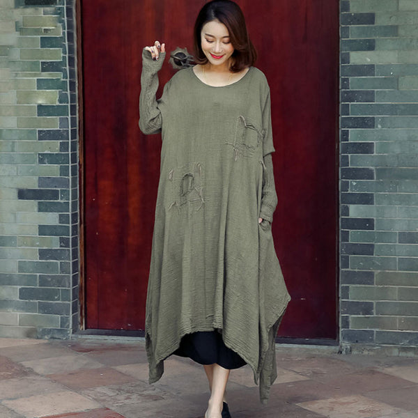 Spring Linen Distressed Loose Light Coffee Dress
