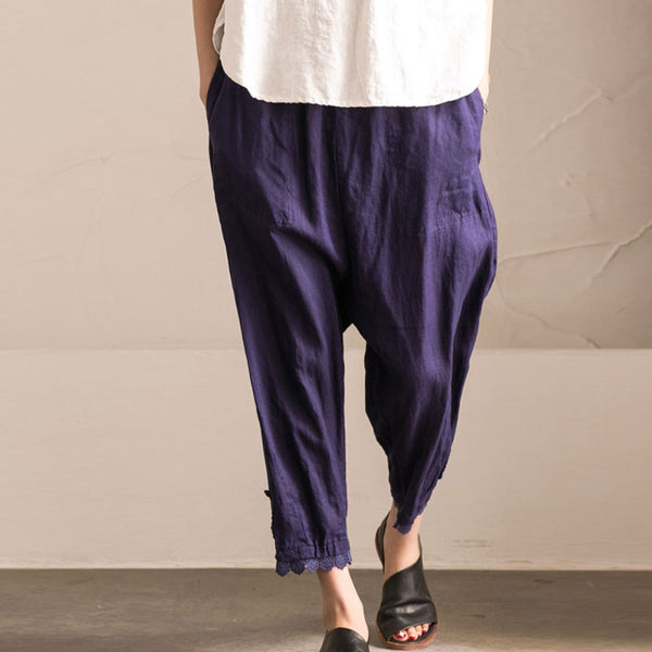 Splicing HollowLoose Casual Linen Cotton Harem Blue Pants - Buykud