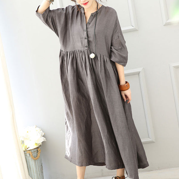 Loose Stand Collar High Waist Dress