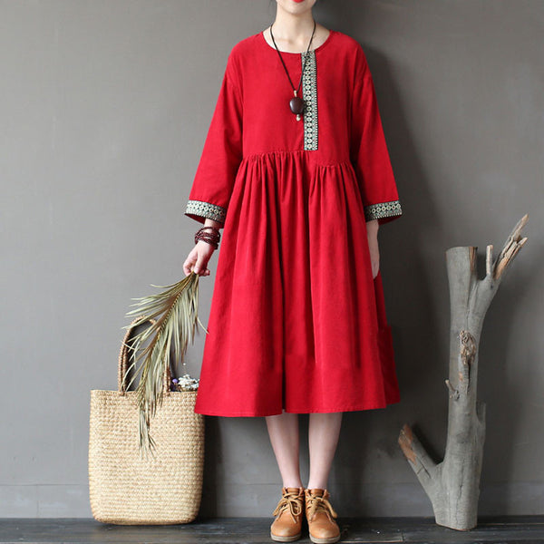 Casual Retro Loose Women Embroidered Cotton Dress