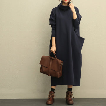 Literature Turtle Neck Long Sleeves Cotton Spandex Navy Blue Women Dress - Buykud