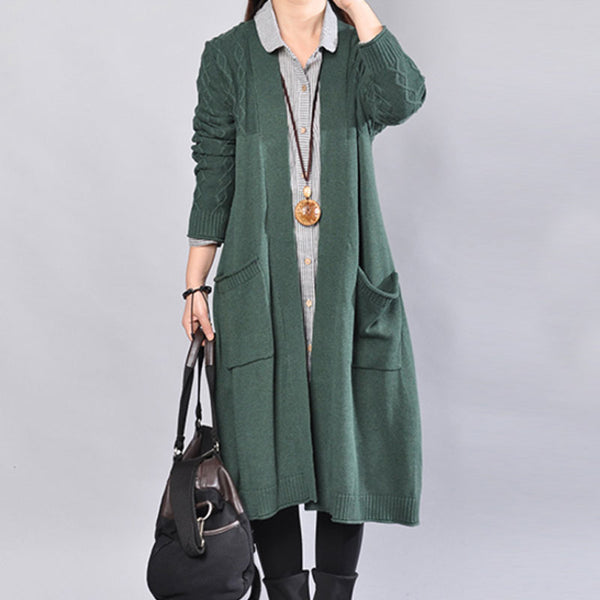 Autumn Casual Printing Lattice Knitting Long Sleeves Green Coat