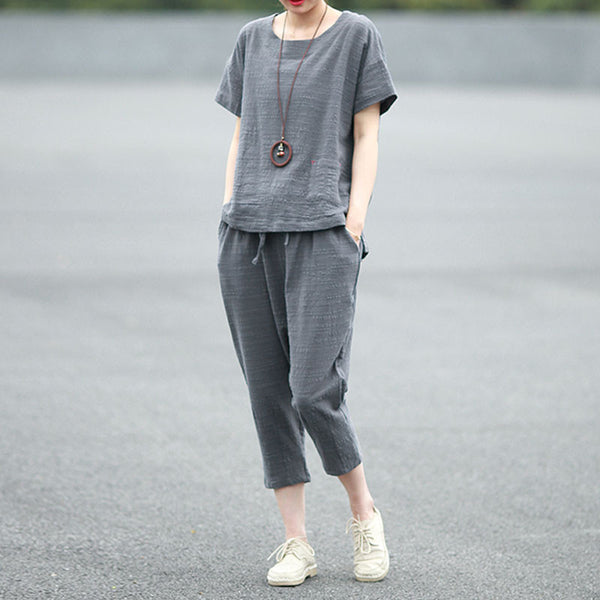 Summer Loose Women Casual Cotton Linen Gray Suits