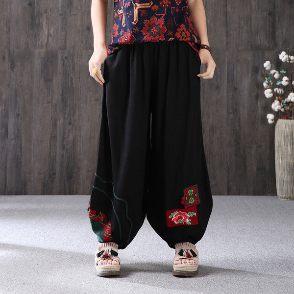 Loose Ethnic Applique Embroidery Women Lantern Pants - Buykud