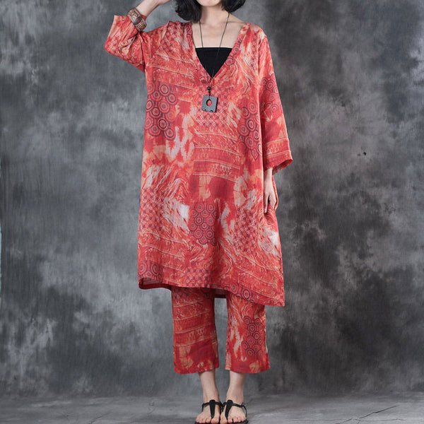 V Neck Three Quarter Sleeve Loose Printed Shirt Summer Pant - Buykud