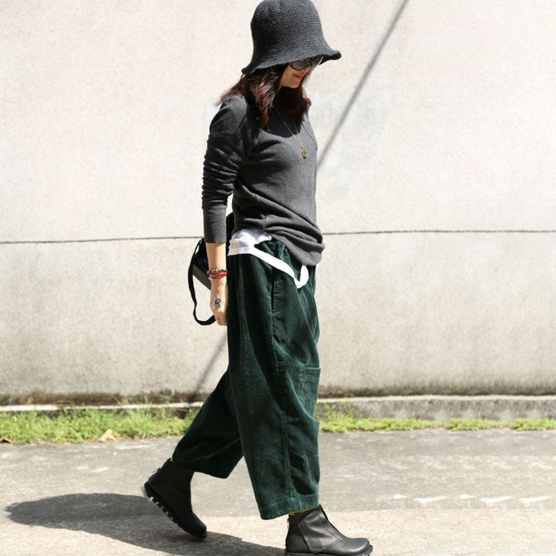 Causal Fall Winter Women Loose Elastic Waist Green Pants - Buykud