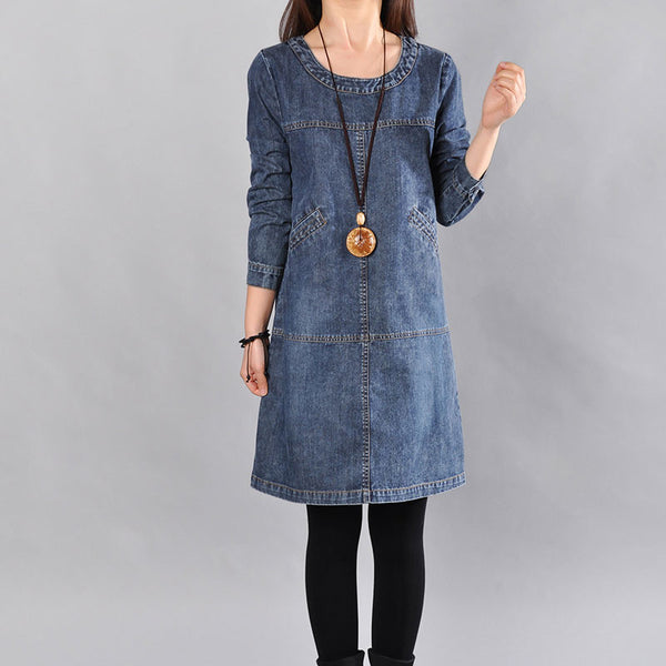 Spring Long Sleeves Loose Women Denim Dress - Buykud