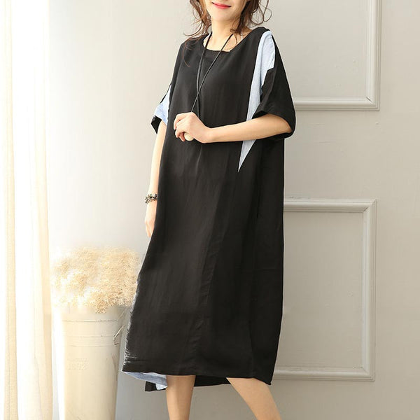 Women Linen Loose Shoulder Sleeves Long Dress - Buykud