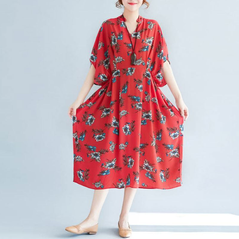 V Neck Loose Plus Size Printed Chiffon Dress