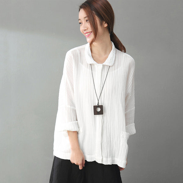 Literature Polo Collar Long Sleeves Linen White Women Shirt - Buykud