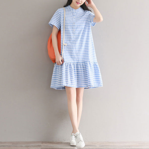 Preppy Chic Stripe Flouncing Short Sleeves Light Blue Dress - Buykud