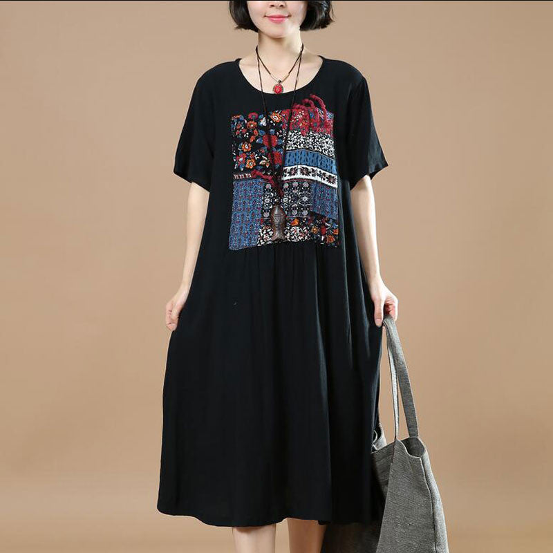 Black Women Loose Summer Linen Cotton Ethnic Casual Dress - Buykud