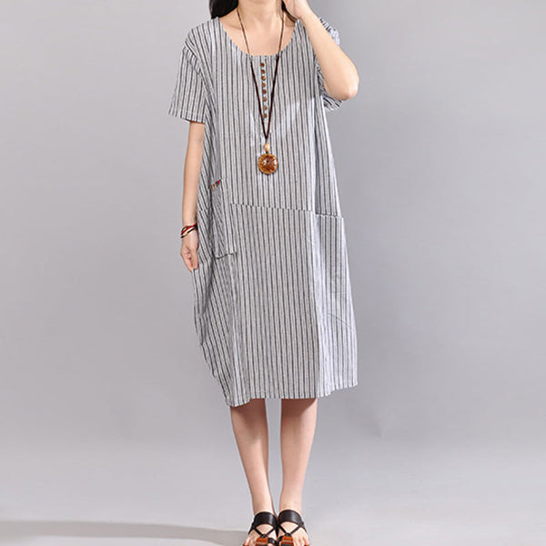 Stripe Short Sleeve Round Neck Casual Light Gray Dress - Buykud