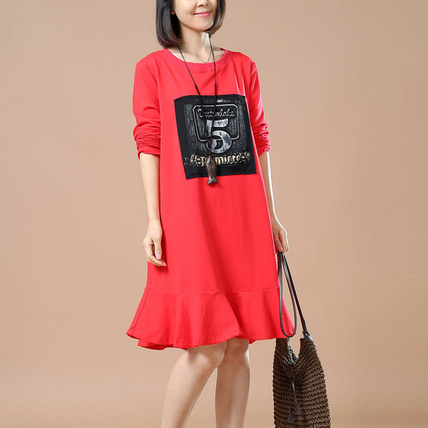Red Printed Round Neck Dress