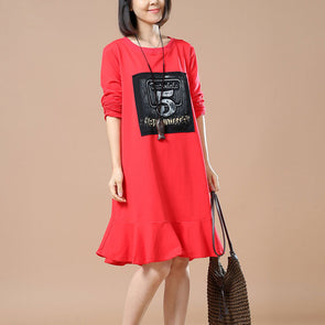 Red Printed Round Neck Dress - Buykud