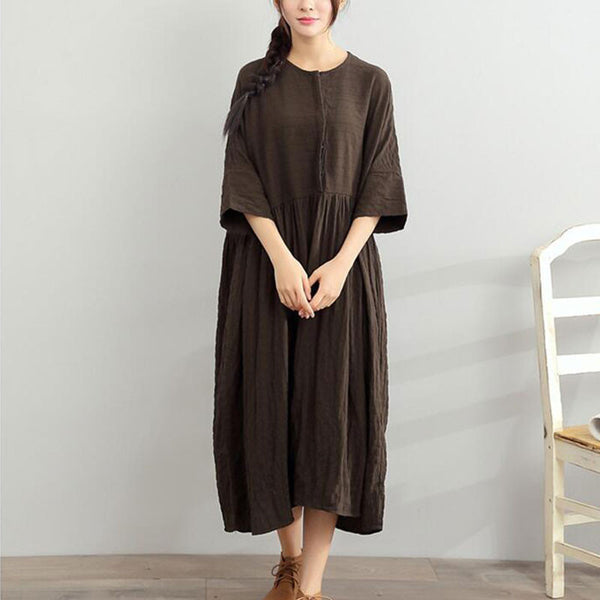 Loose Women Casual Cotton Stripe Long Green Dress - Buykud