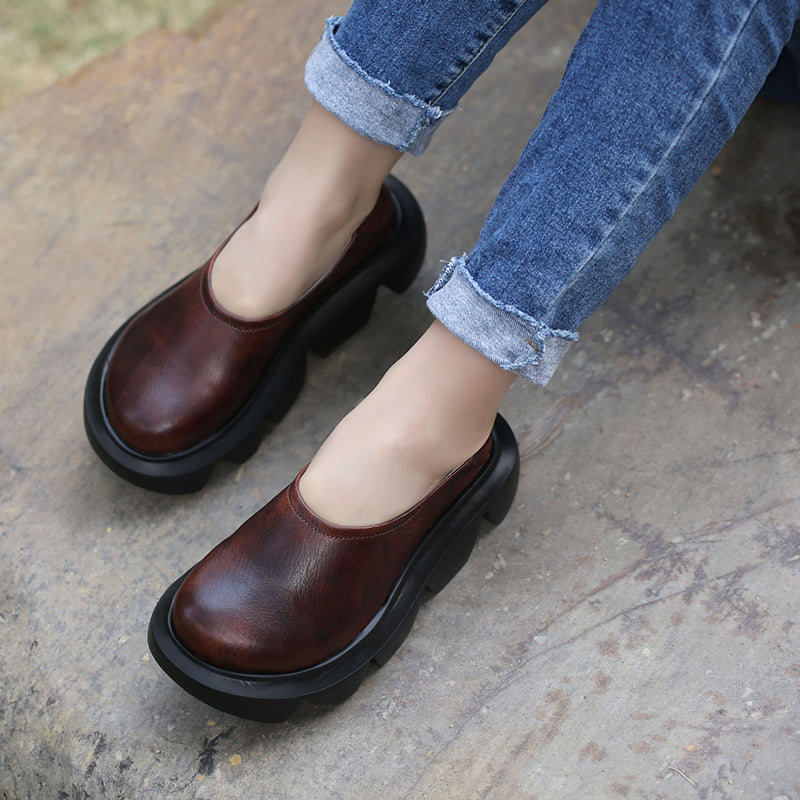High Flat Heel Women Loafers Shoes