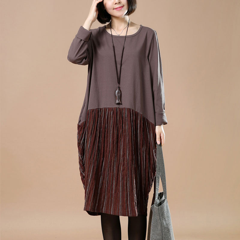 4a06d66881c8 Spring Large Size Casual Loose Round Neck Coffee Dress - BUYKUD