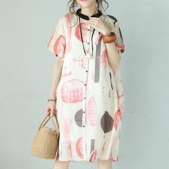 Casual Printing Loose Summer Short Sleeve Dress