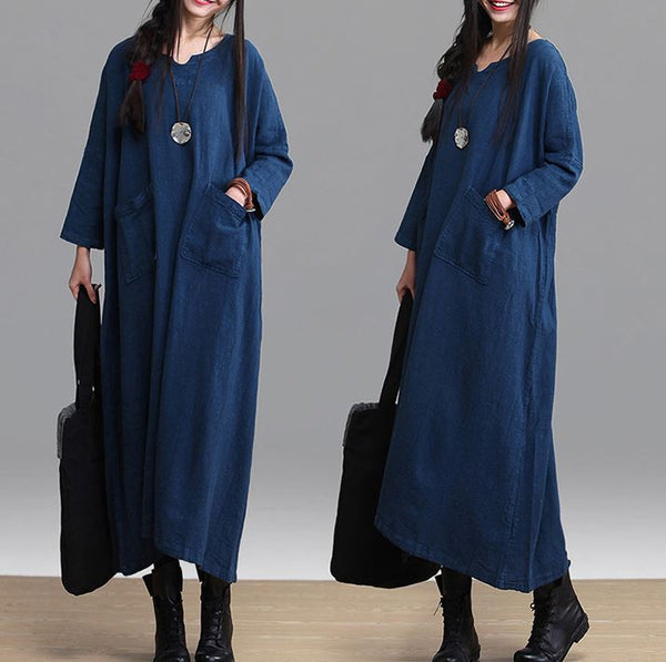 Linen Maxi Dress Loose Fitting Long Dresses - Buykud - 1