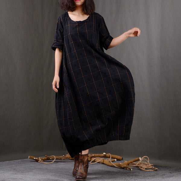 Round Neck Lattice Loose Linen Dress