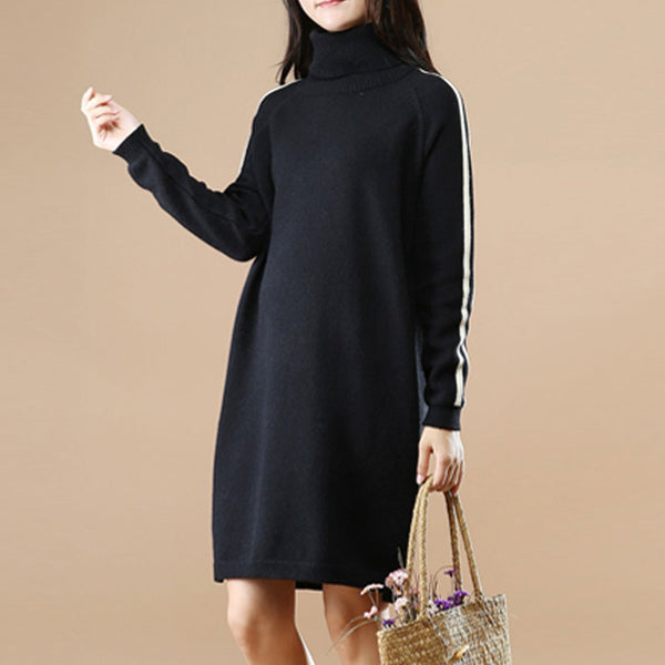 Turtle Necl Long Sleeves Casual Women Winter Dress - Buykud