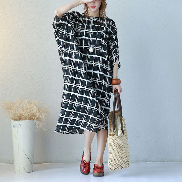 Cotton Women Summer Lattice Loose Irregular Black Dress - Buykud