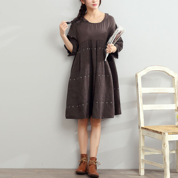 Women Round Neck Color Matching Applique Dress - Buykud