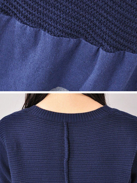 Women cotton knitted casual loose sweater