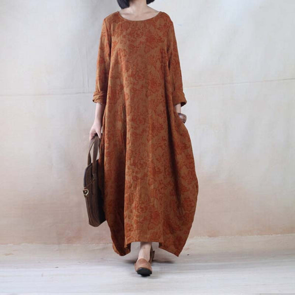 Women Casual Loose Cotton Linen Long Maxi Dress