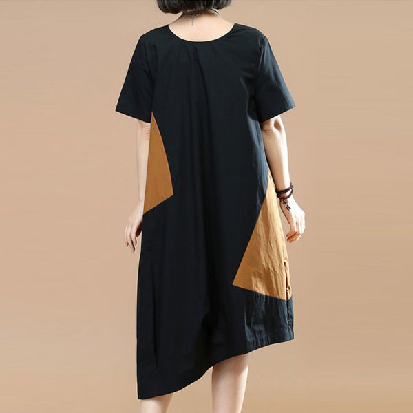 Summer Asymmetrical Contrast Color Short Sleeves Black Dress - Buykud