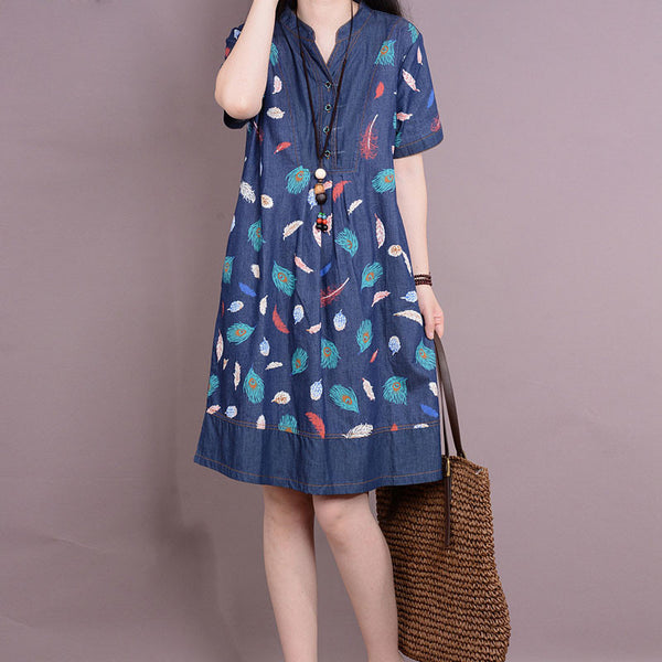 Women Short Sleeves Printing Denim Dress - Buykud