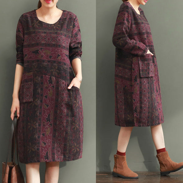 Ethnic Style Printing Loose Dress