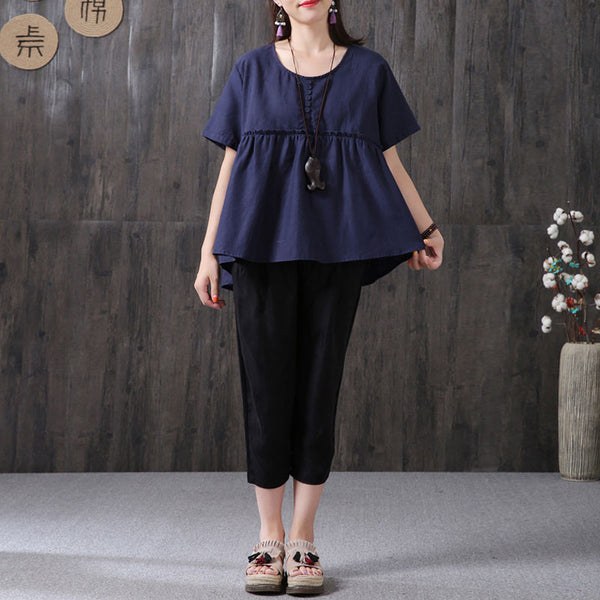 Women Round Neck Loose Casual Short Sleeve Navy Blue Shirt