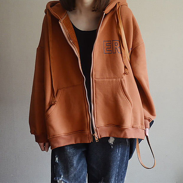 Print Casual Zipper Up Hooded Coat