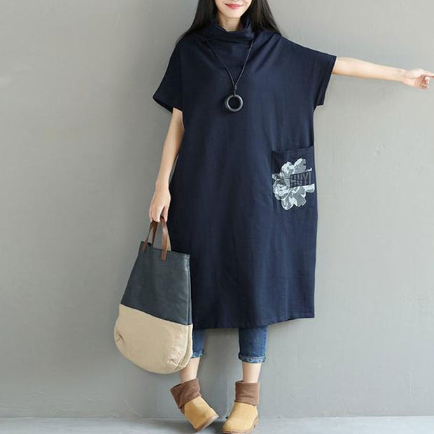 Turtle Neck Loose Printed Cotton Women Short Sleeve Dress - Buykud