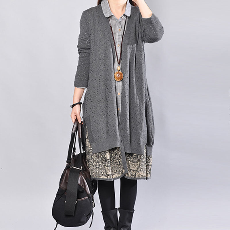 Literature Hollowed Single Breasted Fake Two-Piece Gray Sweater Dress - Buykud
