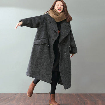 Woolen Literature Long Sleeves Autumn Winter Gray Women Coat - Buykud