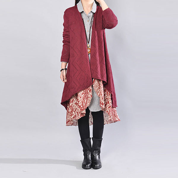 Splicing Long Sleeve Women Casual Autumn Red Coat - Buykud
